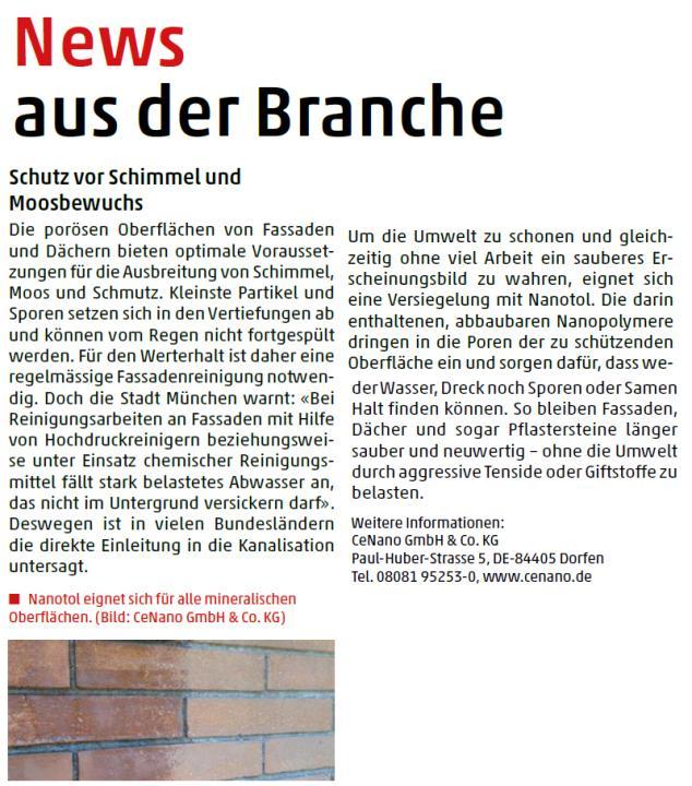 Nanotol im Fachmagazin Schweizer Baujournal